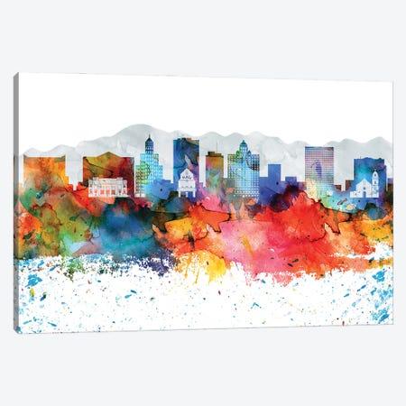 El Paso Colorful Watercolor Skyline Canvas Print #WDA1295} by WallDecorAddict Canvas Artwork