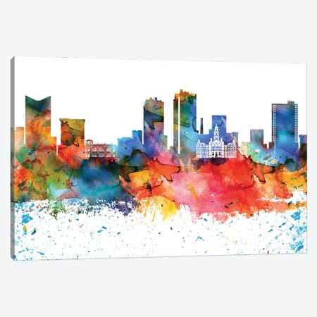 Fort Worth Colorful Watercolor Skyline Canvas Print #WDA1297} by WallDecorAddict Canvas Artwork