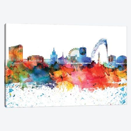 Geneva Colorful Watercolor Skyline Canvas Print #WDA1298} by WallDecorAddict Art Print