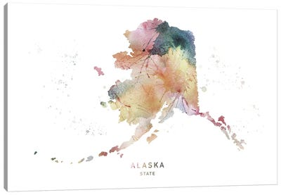 Alaska Watercolor State Map Canvas Art Print