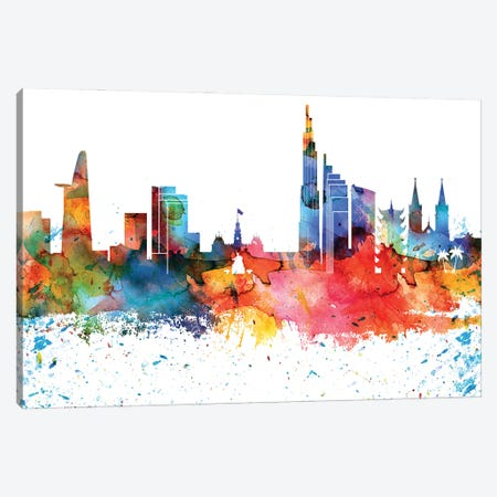 Ho Chi Minh Colorful Watercolor Skyline Canvas Print #WDA1304} by WallDecorAddict Canvas Art