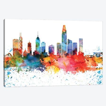 Hong Kong Colorful Watercolor Skyline Canvas Print #WDA1305} by WallDecorAddict Canvas Art