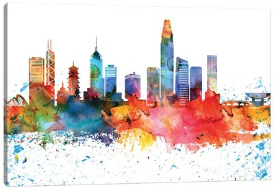 Hong Kong Colorful Watercolor Skyline Canvas Art Print