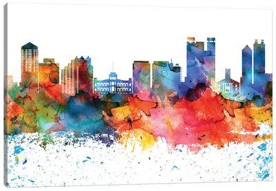 Honolulu Colorful Watercolor Skyline Canvas Art Print