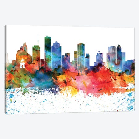 Houston Colorful Watercolor Skyline Canvas Print #WDA1307} by WallDecorAddict Canvas Wall Art