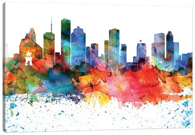 Houston Colorful Watercolor Skyline Canvas Art Print
