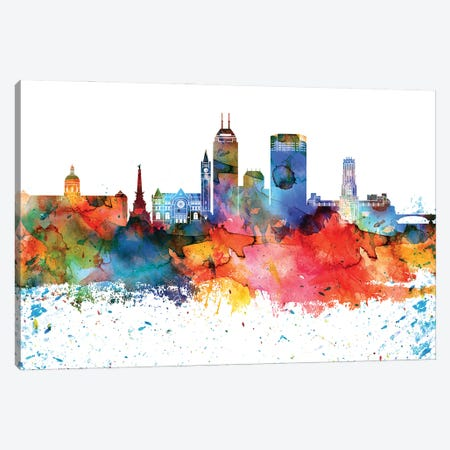 Indianapolis Colorful Watercolor Skyline Canvas Print #WDA1308} by WallDecorAddict Canvas Print