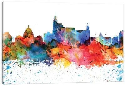 Jackson Mi Colorful Watercolor Skyline Canvas Art Print