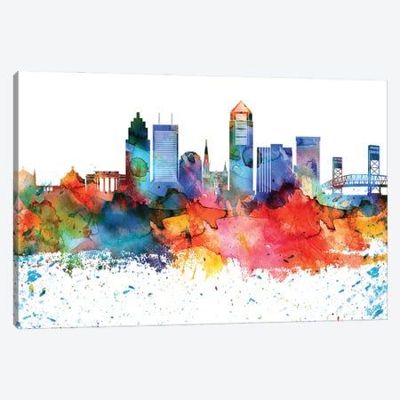 Jacksonville Colorful Watercolor Skyline Canvas Print #WDA1310} by WallDecorAddict Canvas Artwork