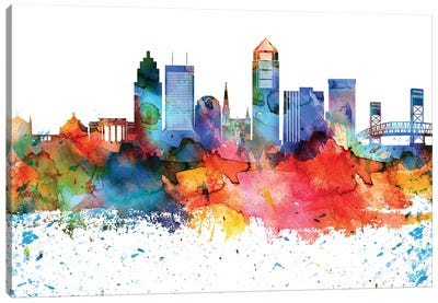 Jacksonville Colorful Watercolor Skyline Canvas Art Print
