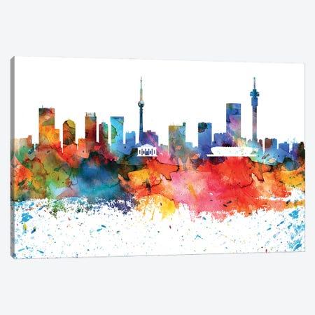 Johannesburg Colorful Watercolor Skyline Canvas Print #WDA1311} by WallDecorAddict Canvas Artwork