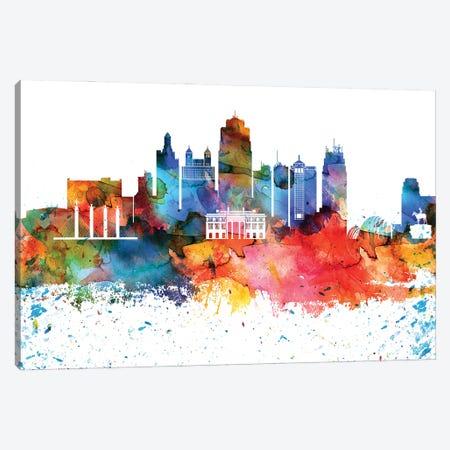 Kansas City Colorful Watercolor Skyline Canvas Print #WDA1312} by WallDecorAddict Canvas Art