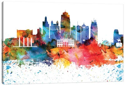 Kansas City Colorful Watercolor Skyline Canvas Art Print