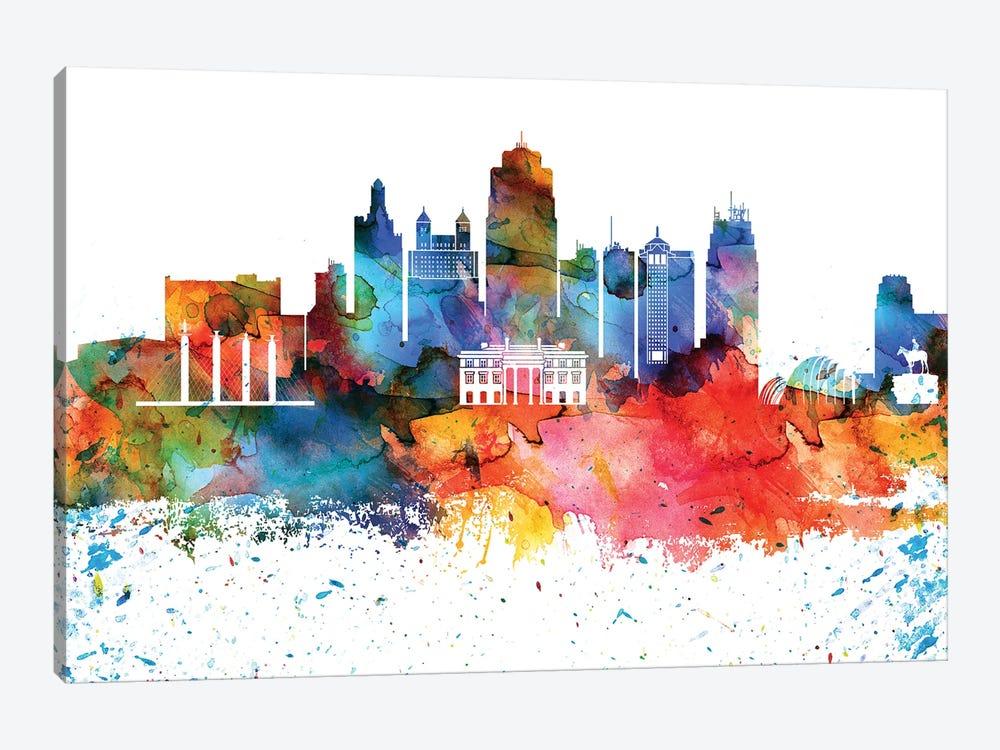 Kansas City Colorful Watercolor Skyline by WallDecorAddict 1-piece Art Print