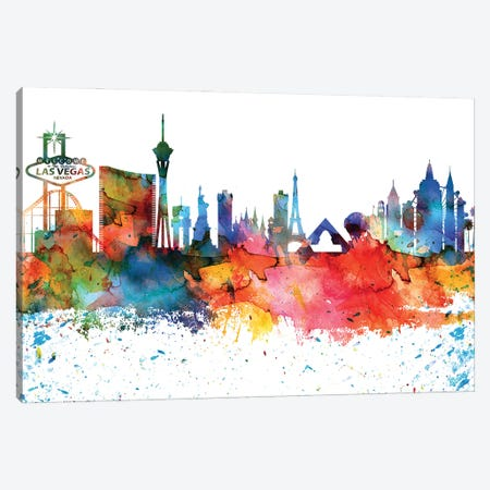 Las Vegas Colorful Watercolor Skyline Canvas Print #WDA1314} by WallDecorAddict Art Print