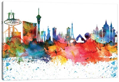 Las Vegas Colorful Watercolor Skyline Canvas Art Print