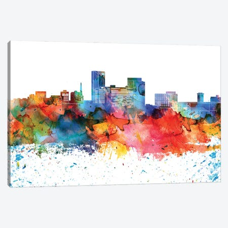 Lexington Colorful Watercolor Skyline Canvas Print #WDA1315} by WallDecorAddict Art Print