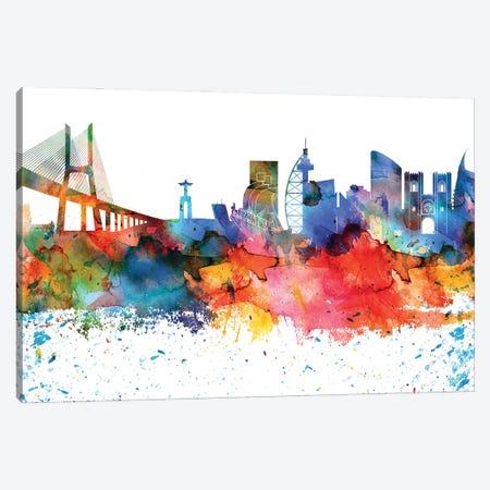 Lisbon Colorful Watercolor Skyline Canvas Print #WDA1318} by WallDecorAddict Canvas Wall Art