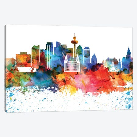 Liverpool Colorful Watercolor Skyline Canvas Print #WDA1319} by WallDecorAddict Canvas Wall Art