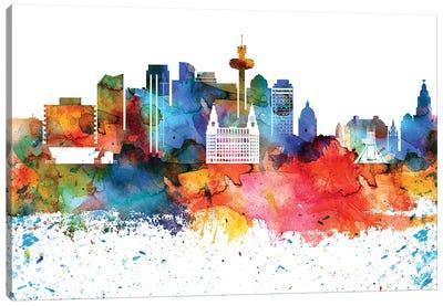 Liverpool Colorful Watercolor Skyline Canvas Art Print