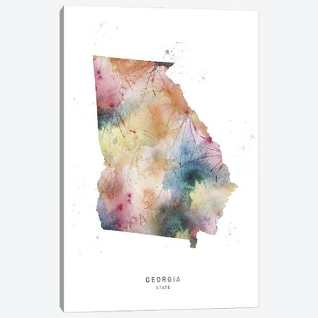 Georgia State Watercolor Canvas Print #WDA131} by WallDecorAddict Canvas Art Print