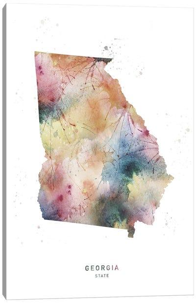 Georgia State Watercolor Canvas Art Print