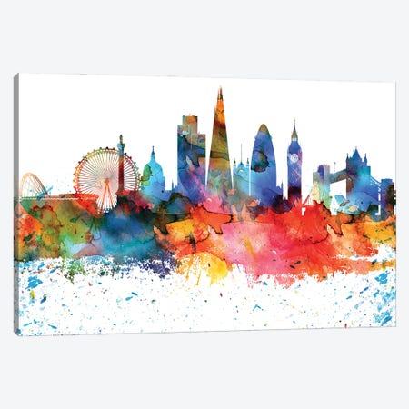 London Colorful Watercolor Skyline Canvas Print #WDA1320} by WallDecorAddict Canvas Art Print