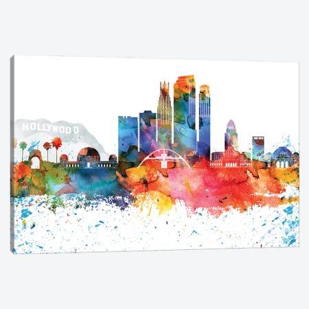 Los Angeles Colorful Watercolor Skyline Canvas Print #WDA1321} by WallDecorAddict Canvas Print