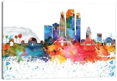 Los Angeles Colorful Watercolor Skyline Canvas Art Print