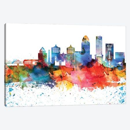 Louisville Colorful Watercolor Skyline Canvas Print #WDA1322} by WallDecorAddict Canvas Art Print
