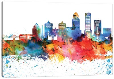 Louisville Colorful Watercolor Skyline Canvas Art Print