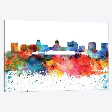 Madison Colorful Watercolor Skyline Canvas Print #WDA1324} by WallDecorAddict Canvas Artwork