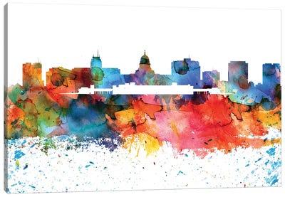 Madison Colorful Watercolor Skyline Canvas Art Print