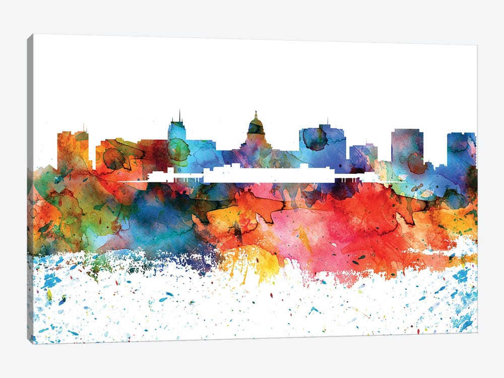 Madison Colorful Watercolor Skyline by WallDecorAddict 1-piece Canvas Artwork