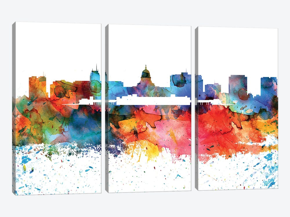 Madison Colorful Watercolor Skyline by WallDecorAddict 3-piece Canvas Artwork
