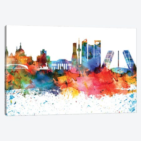 Madrid Colorful Watercolor Skyline Canvas Print #WDA1325} by WallDecorAddict Canvas Artwork