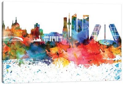 Madrid Colorful Watercolor Skyline Canvas Art Print