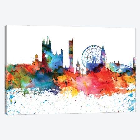 Manchester Colorful Watercolor Skyline Canvas Print #WDA1326} by WallDecorAddict Canvas Art