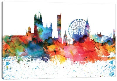 Manchester Colorful Watercolor Skyline Canvas Art Print