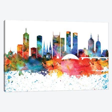 Melbourne Colorful Watercolor Skyline Canvas Print #WDA1328} by WallDecorAddict Canvas Art Print