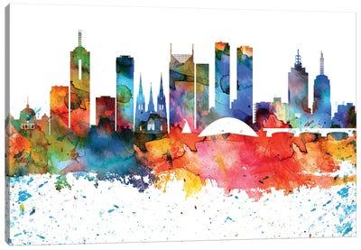 Melbourne Colorful Watercolor Skyline Canvas Art Print
