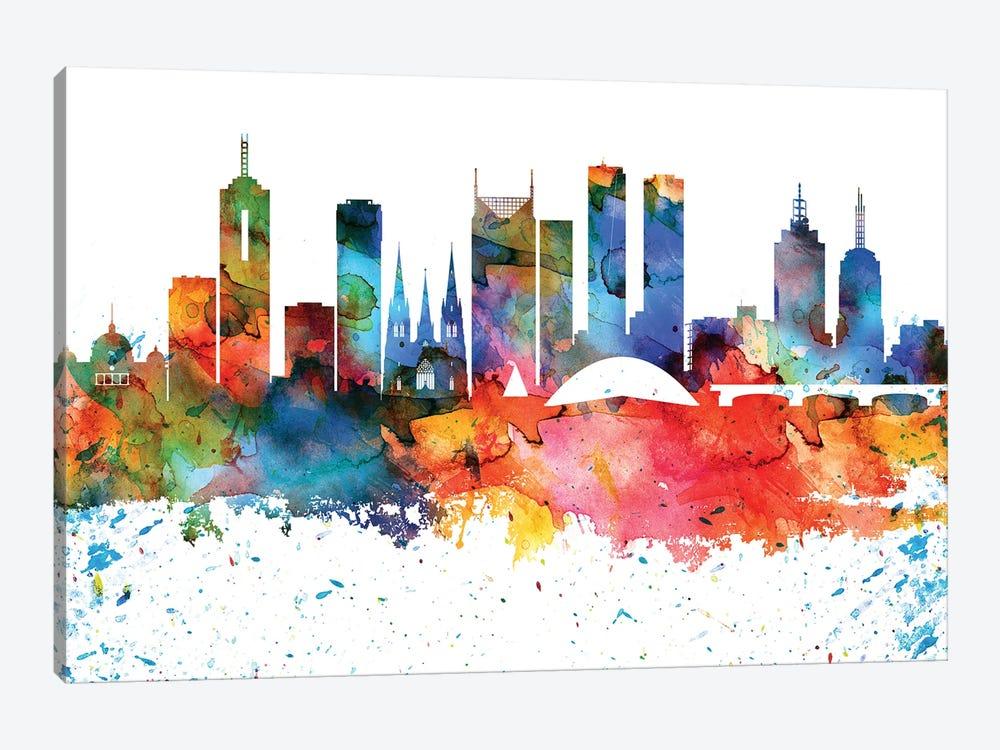 Melbourne Colorful Watercolor Skyline by WallDecorAddict 1-piece Canvas Artwork