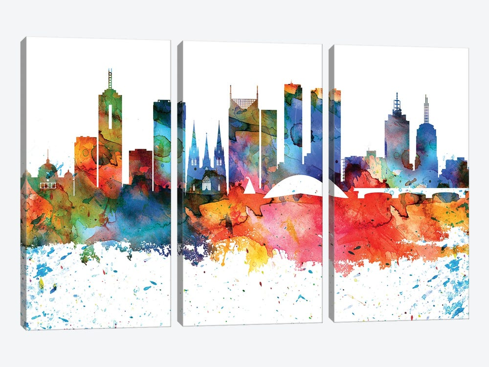 Melbourne Colorful Watercolor Skyline by WallDecorAddict 3-piece Canvas Art