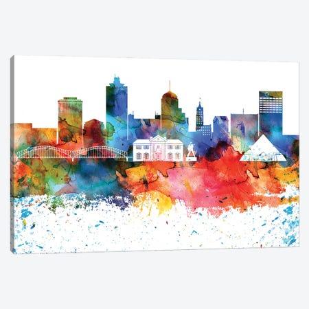 Memphis Colorful Watercolor Skyline Canvas Print #WDA1329} by WallDecorAddict Art Print