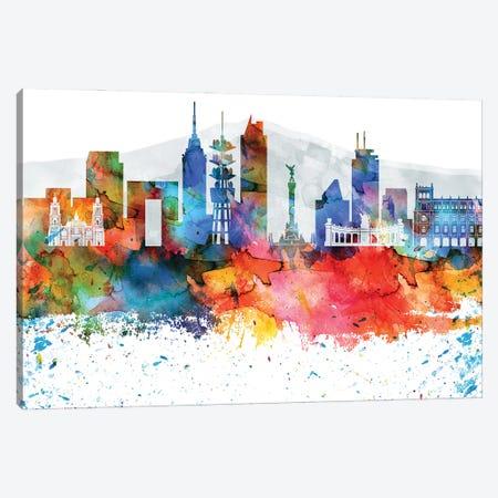 Mexico City Colorful Watercolor Skyline Canvas Print #WDA1330} by WallDecorAddict Canvas Wall Art