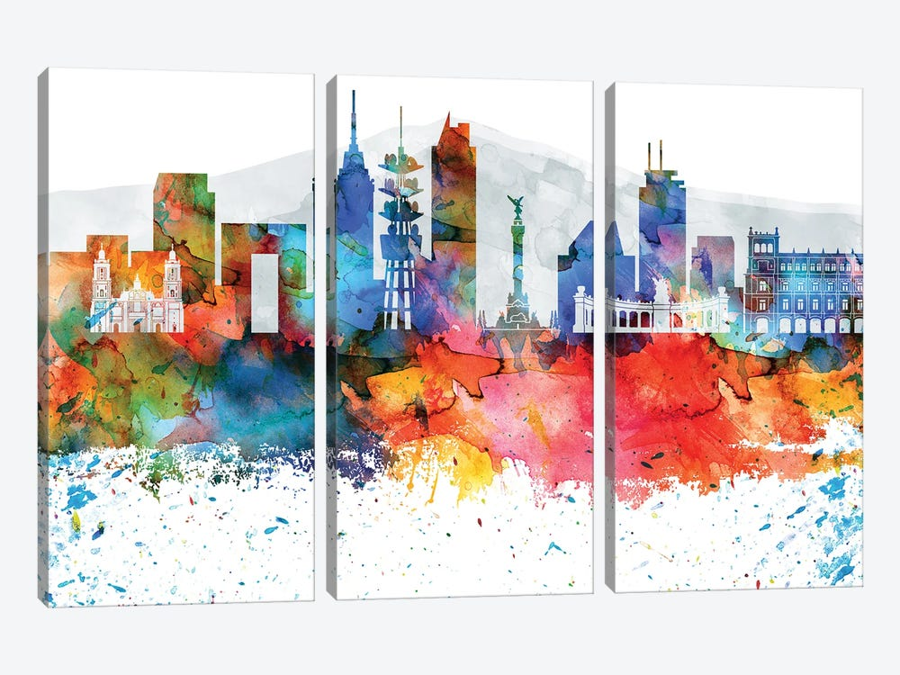 Mexico City Colorful Watercolor Skyline by WallDecorAddict 3-piece Art Print