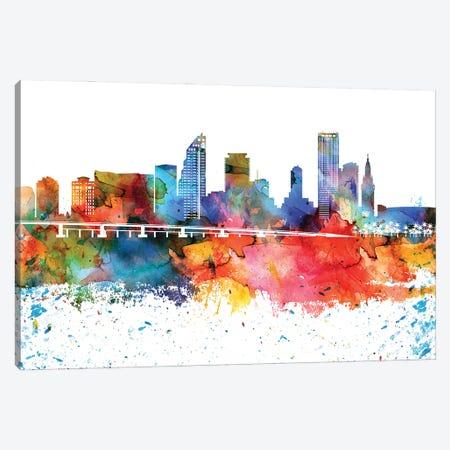 Miami Colorful Watercolor Skyline Canvas Print #WDA1331} by WallDecorAddict Canvas Art