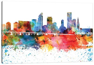 Miami Colorful Watercolor Skyline Canvas Art Print