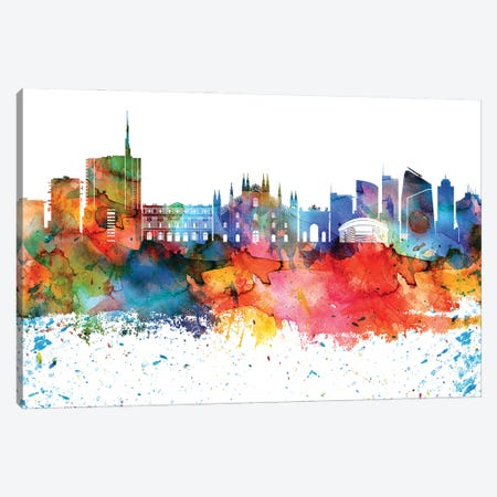 Milan Colorful Watercolor Skyline Canvas Print #WDA1332} by WallDecorAddict Canvas Art