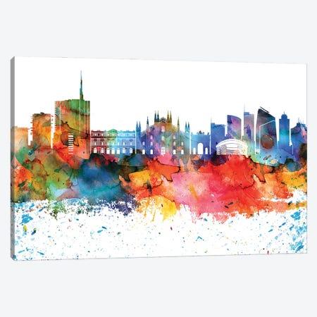 Milan Colorful Watercolor Skyline Canvas Print #WDA1332} by WallDecorAddict Canvas Art